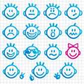 Conjunto de rostos com diferentes expressões de emoção. — Vetorial Stock