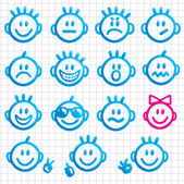 Set of faces with various emotion expressions. — 图库矢量图片