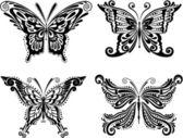Beautiful butterflies silhouettes. Set. — Stock Vector