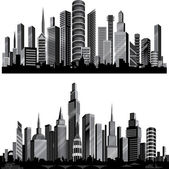 The best vector City silhouettes. Set. — Stock Vector