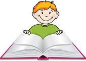 少年は本を読む. — ストックベクタ