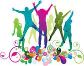 Young on the party . The dancing teenagers. — Stock Vector