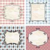 Vintage frames on the old fabric. Set. — Stock Vector
