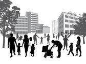 Rodzin w mieście. styl życia, tła miejskiego. — Wektor stockowy