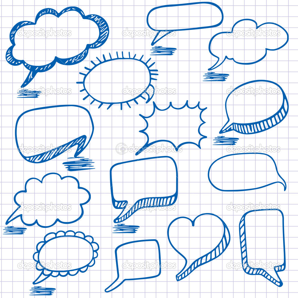 Vector bubbles for speech. Seamless doodle background ...