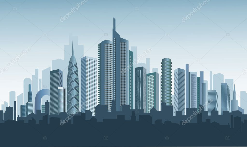 Panorama of modern city. Beautiful background.  — Stock Vector #8347258