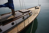 Wooden sailboat — Stock Photo