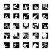 Sport icon set bw — Stock Vector