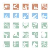 Icono del deporte establece color — Vector de stock