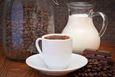 Cup of coffee, milk and chocolate — Stok fotoğraf