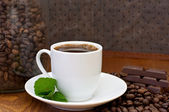 Cup of coffee, mint and chocolate — Stok fotoğraf