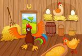 Vector illustration of a cute farm — Stock Vector