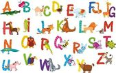 Animals alphabet — Stock Vector