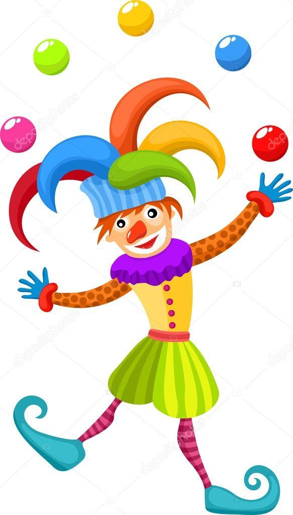可爱的小丑矢量插画 — 矢量图片作者 nem44a