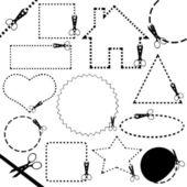 Línea de corte tijeras diferentes — Vector de stock