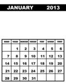 January calendar 2013 — Stock Vector
