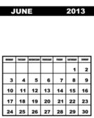 June calendar 2013 — Stock vektor