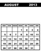 August calendar 2013 — Stock Vector