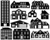 Siluetas de casa — Vector de stock