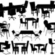 Illustration of tables and chairs - Stock Vector