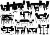 Masa ve sandalye çizimi — Stok Vektör