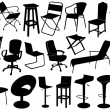 Illustration of chairs set — Stock Vector