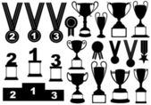 Trophies and medals set — Stock Vector