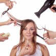 Make-up, cut, many hands — Stock Photo