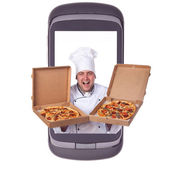 Order delivery pizza — Stock Photo