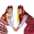 Stock Photo: Child, two girls in bright dress.