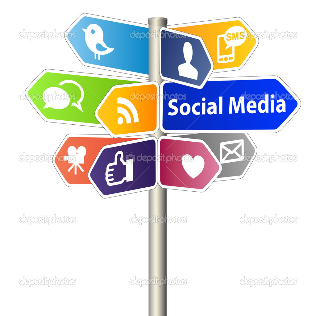 Social Media Sign Post on white background — Foto Stock #8304016