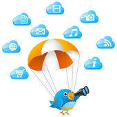 Blue bird searching on cloud — Foto de Stock