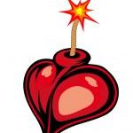 Cartoon heart bomb — Stock Vector