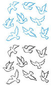 Pigeons And Doves Birds — Stock Vector