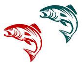 Mascotte de poisson saumon — Vecteur