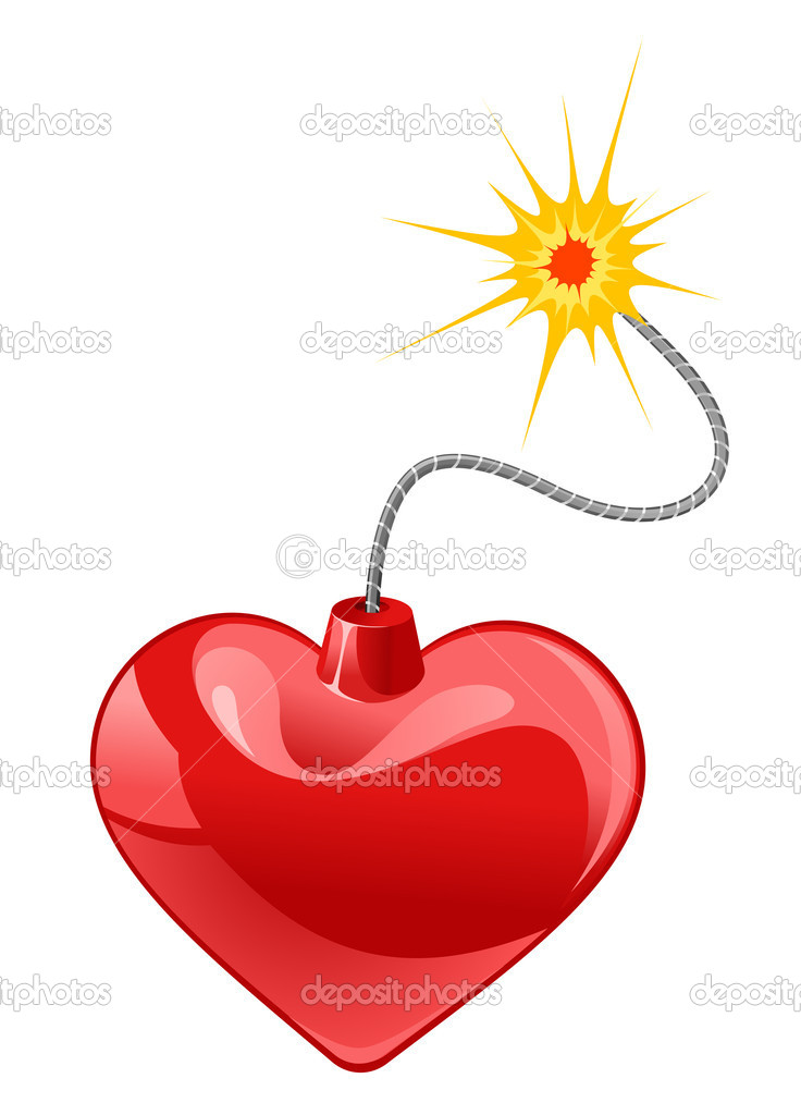 Red heart bomb isolated on white background  Stock Vector #10059541