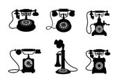 Retro and vintage telephones — Stock Vector