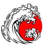 Mer rouge et la vague soleil — Vecteur