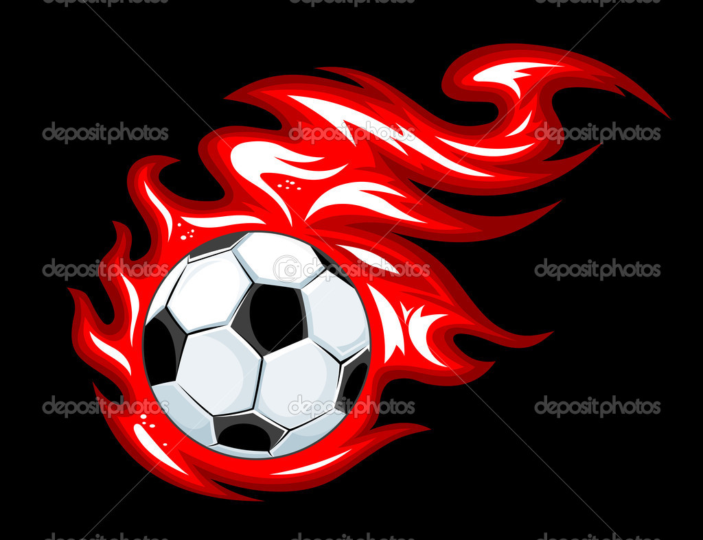 Football and soccer ball in fire flames for sports design — Stock Vector #10197223