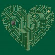 Motherboard heart - Stock Vector