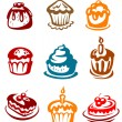 Stock Vector: Fruitcakes and pies