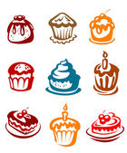 Fruitcakes and pies — Stock Vector
