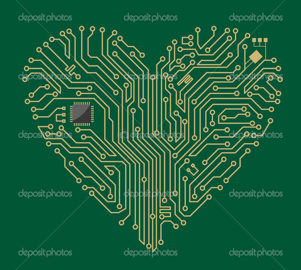 Motherboard computer heart for love concept design — Stock Vector #10459055