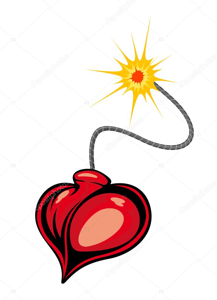 Heart bomb in cartoon style for love terror concept — Stock Vector #10459060