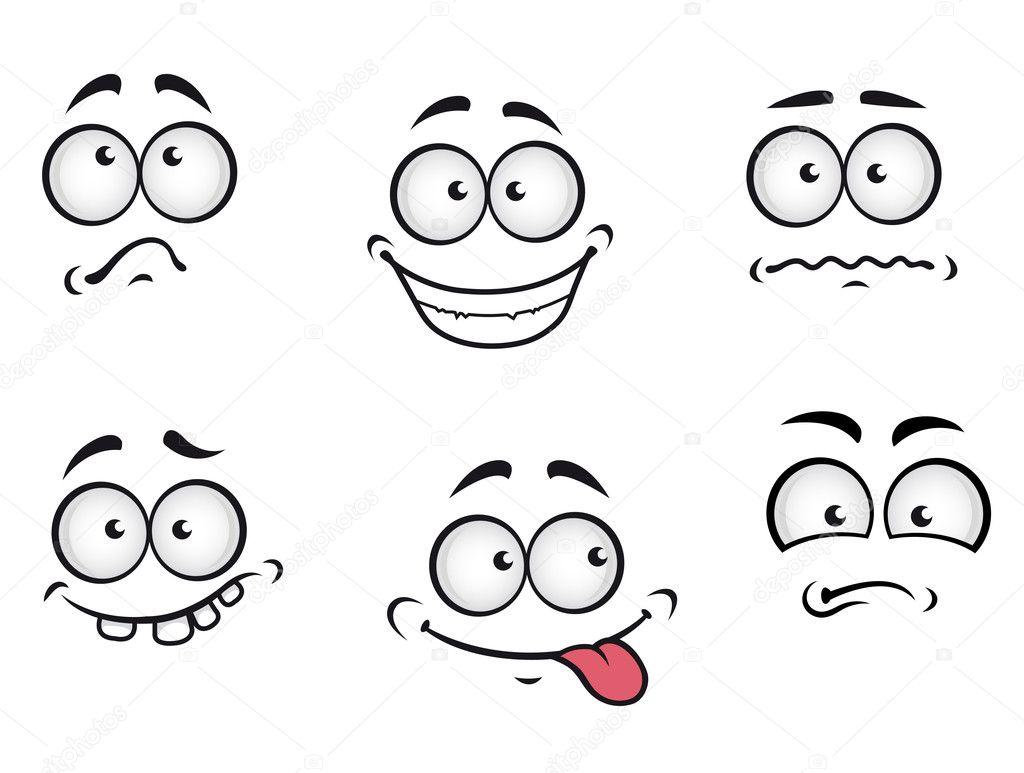 Cartone animato emozioni volti — vettoriali stock