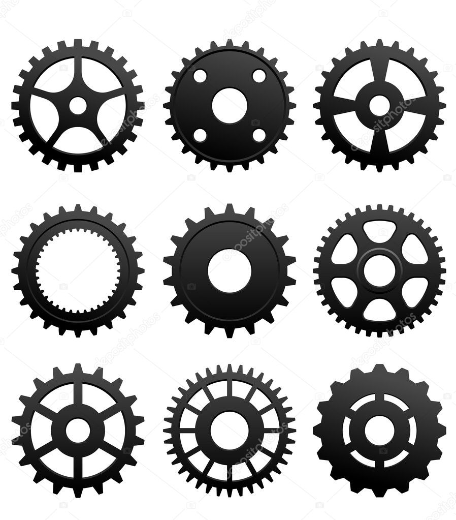 Pinions and gears set isolated on white background for machinery design — Stock Vector #10459069