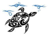 Turtle in sea water — Stock Vector