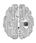 Cerebro de la placa base — Vector de stock