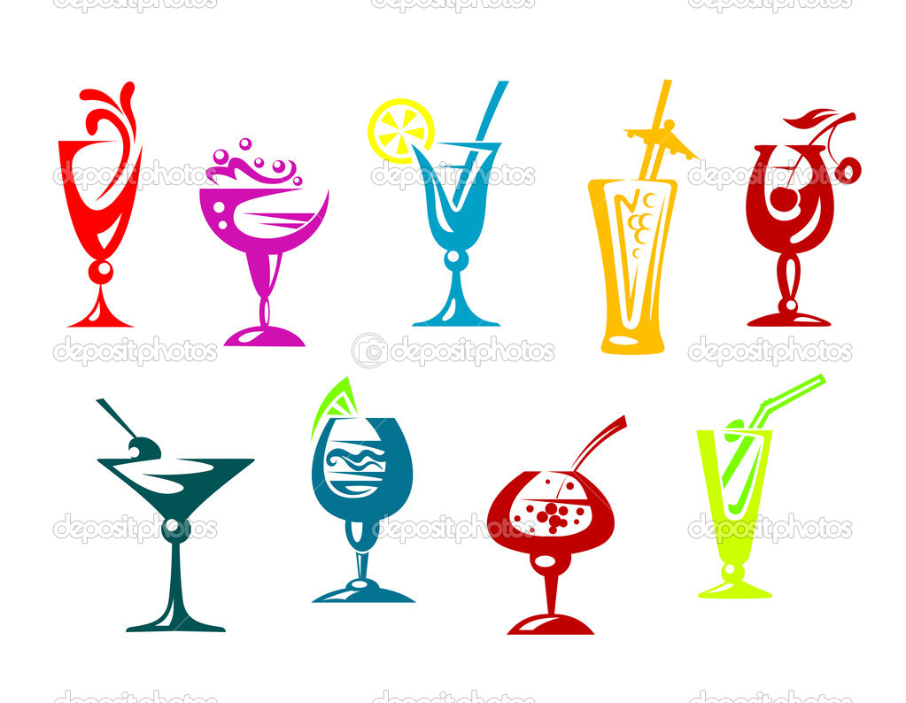 Alcohol and juice cocktails set for beverages design — Stock Vector #10545396
