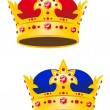 Golden king crown with gems - Stock Vector